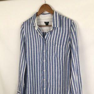 J. CREW Linen Boyfriend Button Front Shirt